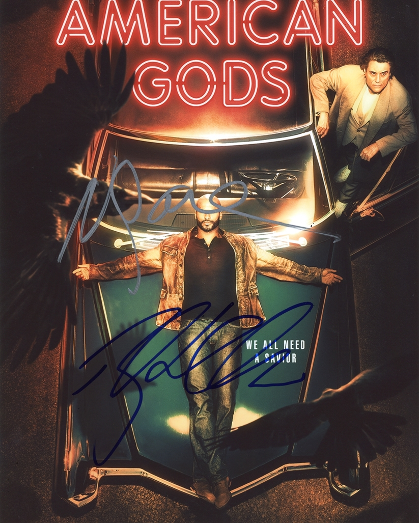 Neil Gaiman & Ricky Whittle Signed Photo