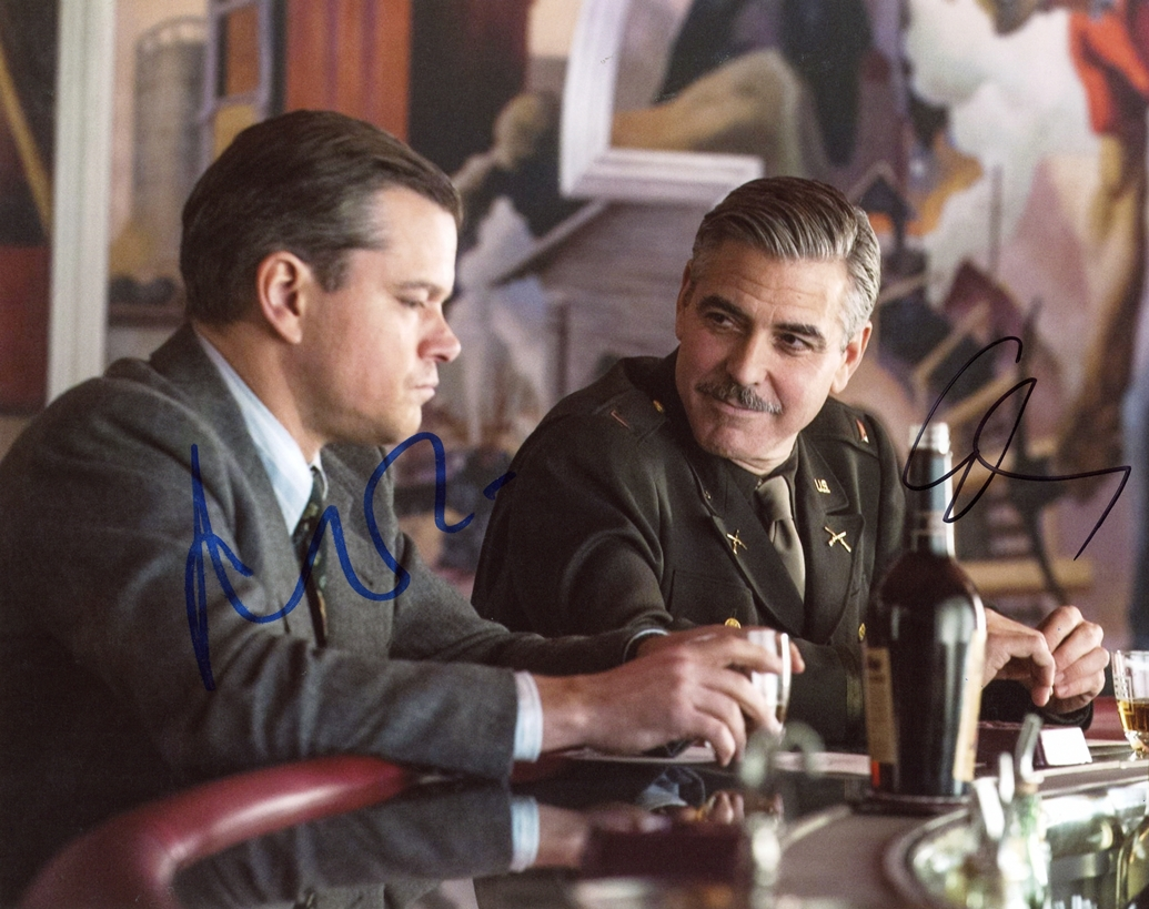 George Clooney & Matt Damon Signed Photo