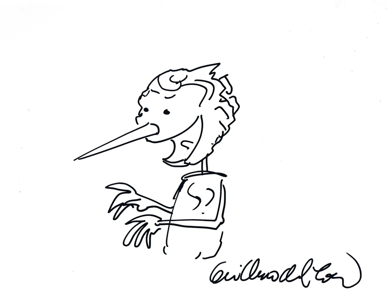 Guillermo Del Toro Signed Sketch