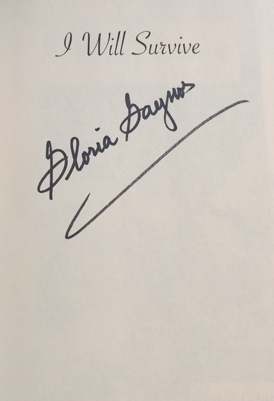 Gloria Gaynor Signed Book